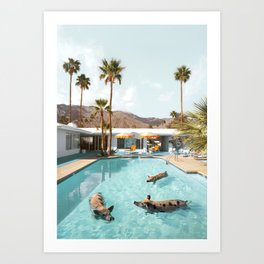Pig Poolside Party Art Print