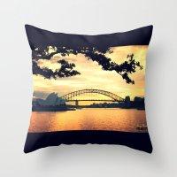 sydney Throw Pillows featuring Sydney by MrsBurnsy