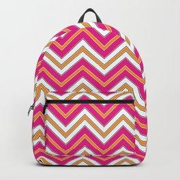 Chevron Pattern | Pink Orange Black White Backpack