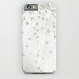 Soft Gray Green and White Trailing Ivy Leaf Print iPhone Case