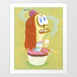 Cherry Cupcake print Art Print