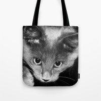 kitten Tote Bags featuring kitten by Bunny Noir