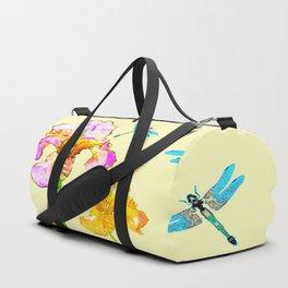 GOLDEN PURPLE IRIS & BLUE DRAGONFLIES Duffle Bag