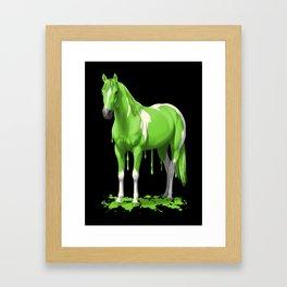 Neon Green Wet Paint Horse Framed Art Print