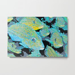 School Of Fish Acrylic Painting Metal Print
