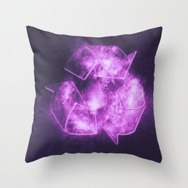 Recycle Sign. Abstract night sky background Throw Pillow
