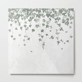 Gray Green Trailing Ivy Leaf Print Metal Print