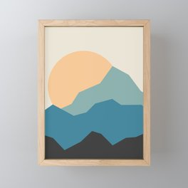 Mountains print.  landscape prints. Original illustration. Printed on archival paper with archival i Framed Mini Art Print