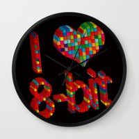 8 bit Wall Clocks featuring i heart 8-bit by frederic levy-hadida