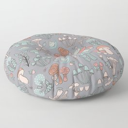 Snails and Fungi Floor Pillow