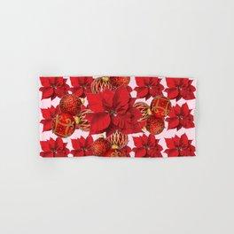 RED POINSETTIA FLOWERS  ORNAMENTS CHRISTMAS ART Hand & Bath Towel
