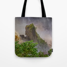 Rock showing in the waterfall Tote Bag