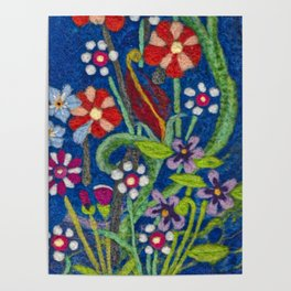 Cozy Felted Wool Flower Garden Poster