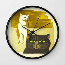Japanese, Cat, Cubism, Woodblock Print, Cherry Blossom, Midcentury, Modern Wall Clock