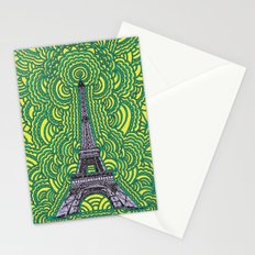 Eiffel Tower Drawing Meditation - purple/yellow/teal Stationery Cards