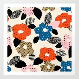 Retro Boho Chic Floral Art Print
