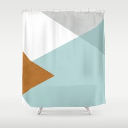 Geometrics - aqua & orange concrete Shower Curtain