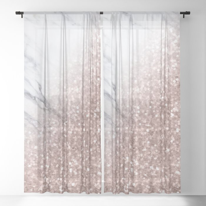 Blush Pink Sparkles on White and Gray Marble V Sheer Curtain