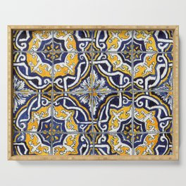 Ornate Blue, Yellow and White Portuguese Tile Serving Tray