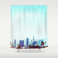 los angeles Shower Curtains featuring Los Angeles by Heather St. Marie