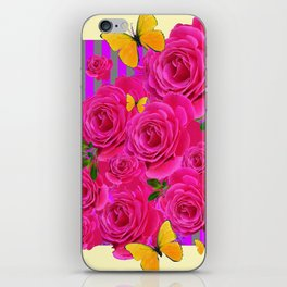 PINK GARDEN ROSES & YELLOW BUTTERFLIES MODERN ART FROM SOCIETY6   BY SHARLESART. iPhone Skin