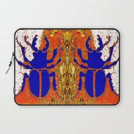 Lapis Blue Beetle on Gold Laptop Sleeve