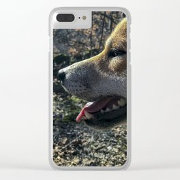 Shiba Inu profile in the woods Clear iPhone Case