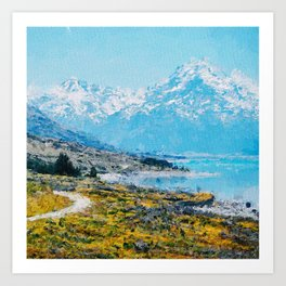 Mountain Scenery 1 painted Art Print
