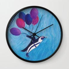 Airborne Penguins Wall Clock