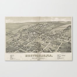 Vintage Pictorial Map of Monticello FL (1885) Canvas Print