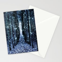 Magical Forest Teal Indigo Elegance Stationery Cards