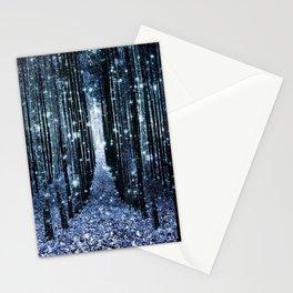 Magical Forest Teal Indigo Elegance Stationery Cards