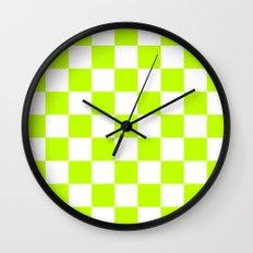 Checker (Lime/White) Wall Clock
