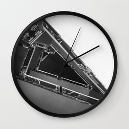 Triangle Space Ship Architecture Stairs BW Wall Clock