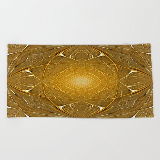 Gold ornament Beach Towel