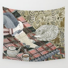 Autumn picnic with my cat Wall Tapestry