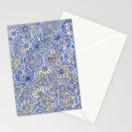 Moroccan Floral Lattice Arrangement - Purple Stationery Cards