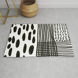 Play minimalist abstract dots dashes and lines painterly mark making art print Rug