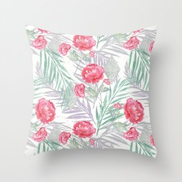 Carnations on a white background. Throw Pillow