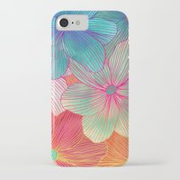 tropical iPhone & iPod Cases featuring Between the Lines - tropical flowers in pink, orange, blue & mint by micklyn