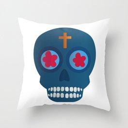 Calavera_Cian Throw Pillow