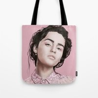 khaleesi Tote Bags featuring Emilia  by Gatto Viola Designs by Alessandra Ragusa