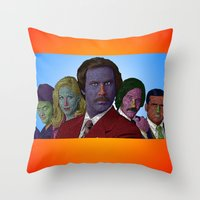 anchorman Throw Pillows featuring Anchorman by CultureCloth