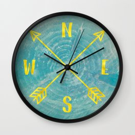 Compass Tree Teal and Gold Wall Clock
