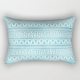 Gentle Blue Greek Meander Pattern on glass Rectangular Pillow