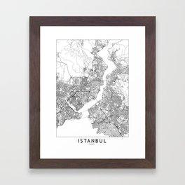 Istanbul White Map Framed Art Print