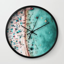 Aerial Beach Print, Large Printable Ocean Waves Wall Art, Teal Coastal Decor, Beach With People Wall Clock