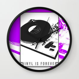 Vinyl is forever print Wall Clock