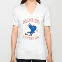 ravenclaw V-neck T-shirts featuring Eagles Ravenclaw by Fresco Umbiatore