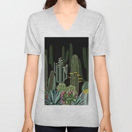 Cactus Garden at Night Unisex V-Neck
